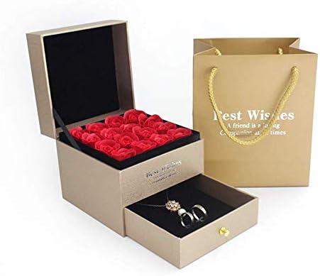 BZM-ZM 永遠の花の宝石箱は、プリザーブドローズの香りバスソープローズギフトボックスハイエンドジュエリー収納ボックス引き出し段ボールジュエリーギフトプレゼンテーションボックス(カラー:ゴールド)