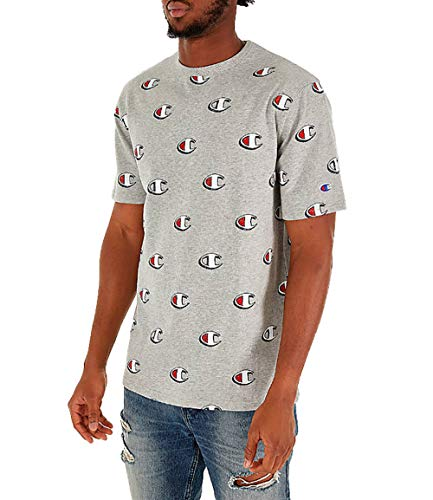 Champion Life Men's Heritage All Over Print T-Shirt (Scribble Logo/Oxford Grey, - Print T-shirt Oxfords