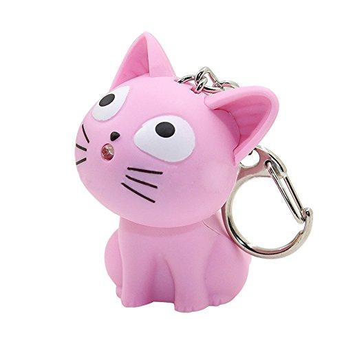 Catnew Cute Cartoon Animal Keychain Keyring Handbag Light Music Gift Portable Hanging Pendant ()