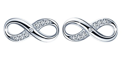 Infinite U Women's Earrings 925 Sterling Silver Infinity Symbol Stud Ear Jackets Earings for Girls