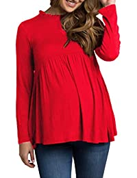 Women's Maternity Clothes Tops Long Sleeve High Waist Shirts Casual Tunic Blouse
