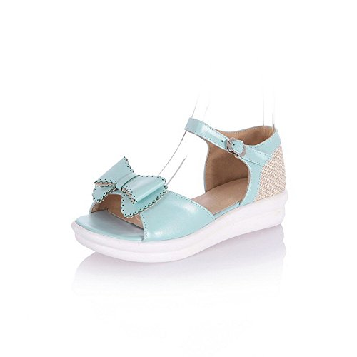AllhqFashion Women's Open Toe Low Heels Soft Material Assorted Color Buckle Sandals Blue rlcKIiIb