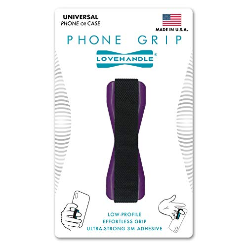 LoveHandle Universal Grip for Most Smartphones, Mini-Tablets and Cases, Black Elastic Strap with Purple Base (LH01-Purple)