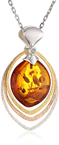 Rhodium Plated Sterling Silver Gold Plated Accents Honey Amber Drop Pendant Necklace, (Beautiful Baltic Amber Pendant)
