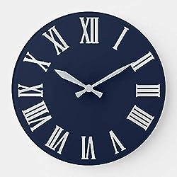 OSWALDO Blue Navy Nauti Gray Metallic Silver Roman Numbers Decorative Round Wooden Wall Clock - 12 inch