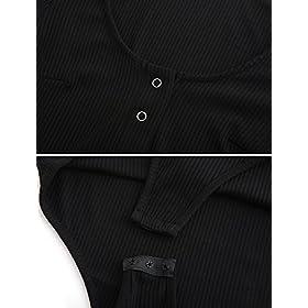 - 416JnA4iL2L - Amilia Women's Basic Long Sleeve Bodysuit Snap Button Leotard Tops Bodycon Jumpsuit