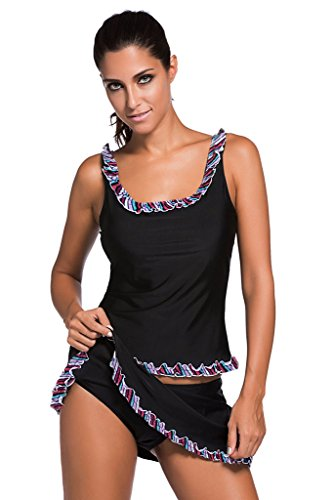Aleumdr Women 2 Piece Tankini Lace Trim Flower Swimwear - US14-16/XL   - Black
