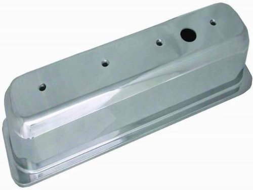 Racing Power Company R6146-1 Tall Plain Polished Aluminum Center Bolt Valve Cover for Small Block Chevy