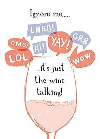 Wine Talking Funny Oclock Birthday Greeting Card Humour Cards