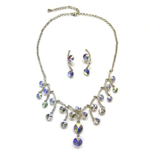 idal Wedding Dangling Swirls Pattern Necklace & Matching Clip Earring Set --Aurora Borealis ()