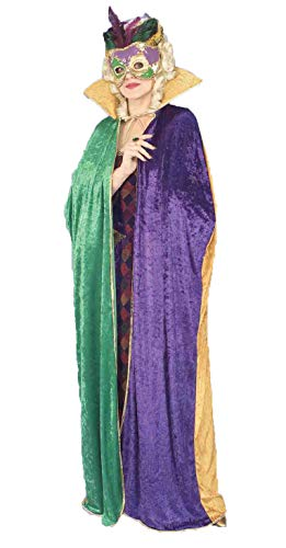 Forum Full Length Mardi Gras Cape, Green/Gold/Purple, Adult