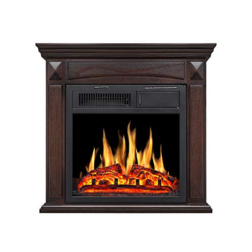 Cheap R.W Flame Electric Fireplace Mantel Wooden Surround Firebox Free Standing Adjustable Led Flame Remote Control (Brown) Black Friday & Cyber Monday 2019