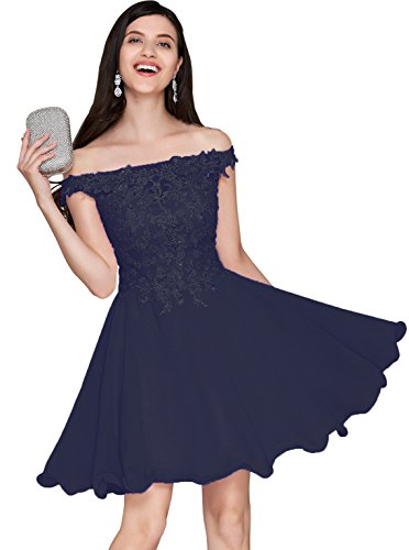 Short Off Shoulder Bridesmaid Dress Lace Bodice A Line Chiffon Evening Party Gown Navy Blue Size -