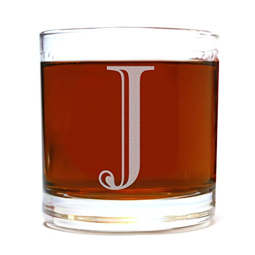 Etched Monogram 10.5oz Rocks Old Fashioned Lowball Glass for Whiskey Scotch Bourbon (Letter J)