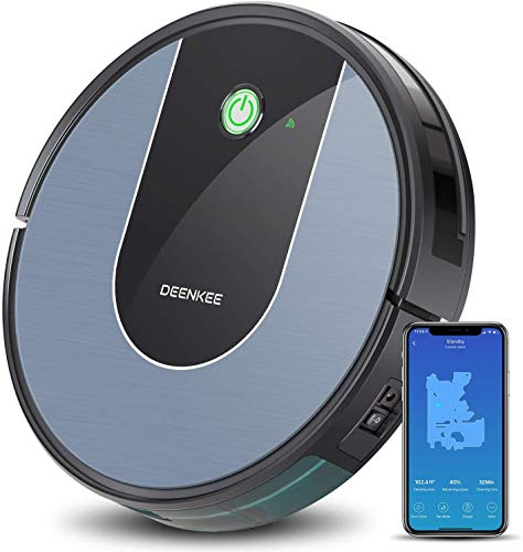 DeenKee DK700 Robot Vacuum,Wi-Fi,App Control,1400Pa High Suction,2.9 inch Super-Thin,6 Cleaning Modes,Quiet,Work with Alxea,Robotic Vacuum Cleaner for Pet Hair,Hard Floor,Carpet (What's The Best Vacuum For Pet Hair)