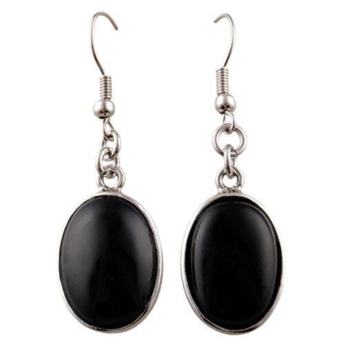 Gemstone Earrings Simple (SUNYIK Black Agate Oval Dangle Earrings with Fishhook)