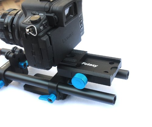 EzFoto Rail System Follow Focus FF + 15mm Rod Rig Base Plate with Quick Release Plate for HD DSLRs