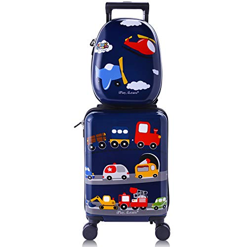 iPlay, iLearn Kids Rolling Luggage Set, 18'' Hard Shell Carry on Suitcase with Backpack, Gift for Boys Girls Toddlers Children Travel -