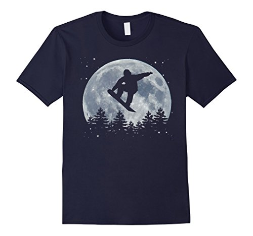 Mens Snowboarding T-Shirt Jump in Front of the Moon Large Navy