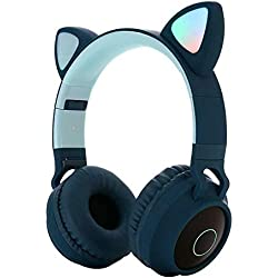 YIDADIAN Audífonos inalámbricos Oreja de Gato Auriculares Bluetooth con luz led Intermitente Ranura para Tarjetas SD Micrófono Incorporado para niños para teléfono móvil Ordenador Personal