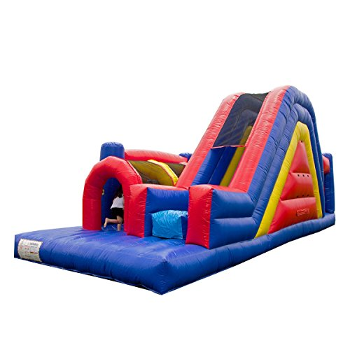 Rainbow Bounce House (JumpOrange Commercial Grade 30' Rainbow Xtreme Inflatable Obstacle Course, Red/Yellow/Blue)
