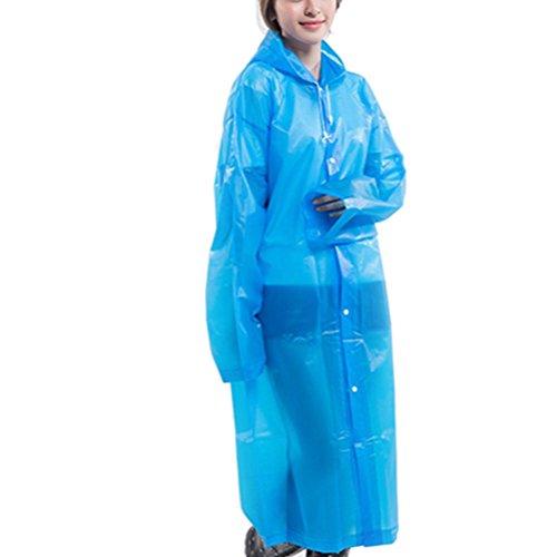Zhhlaixing Unisex Lightweight Waterproof Raincoat Outdoor Portable EVA Hooded Rainwear Blue