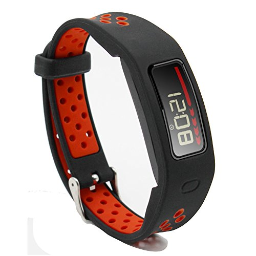 El Move Garmin Vivofit Band  Rugged Protective Wristband Bracelet Sport Fitness Watch Strap For Garmin Vivofit 1 Generation Watch Accessories Bands With Metal Clasp Buckle  Blackred  Xl