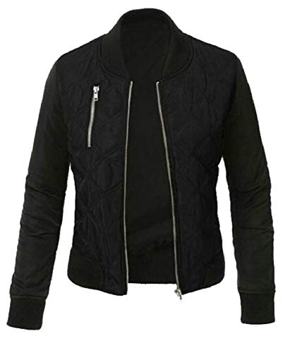 security Women's Casual Quilted Lightweight Jacket Bomber Jacket Coat Black