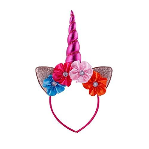 [Daisyu Unicorn Horn Ears Flower Headband Unicorn Horn Headband Perfect For Party Or Cosplay Costume (Mei red)] (Mei-costume)