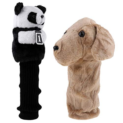 (Baosity 2 Pieces Novelty Animal Panda & Dog Golf Club Headcover for 460 cc/No.1 Wood Driver - Universal Fit)