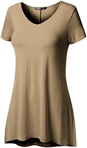 TWINTH Long Tunic Shirts Plus Size Loose Fit Shortsleeve Flare Tops