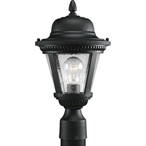 - Progress Lighting P5445-31 1-Light Cast Post Lantern with Clear Seeded Glass, Textured Black