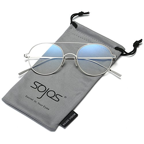 SojoS Small Size Memory Metal Frame Round Sunglasses for Men and Women SJ1068 With Silver Frame/Clear (No Prescription Color Contacts)