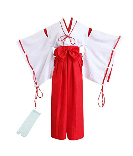 TOKYO-T Japanese Kimono Costumes Inuyasha Kikyou Cosplay Miko with Tabi Socks (US:S, Asian:M) White/Red