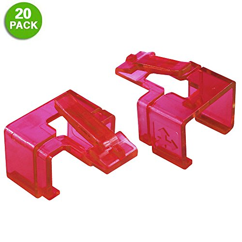20 Pack Plug SOS Clips in Red, for RJ45 Connector Fix/Repair and Color Coding/Management, NO Crimp Tool Needed (Cash Faceplate Money Protector)