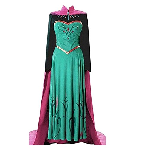 Elsa Adult Dress (EA4 Adult Elsa Coronation Dress Halloween Costume Disney Frozen Inspired Cosplay S-XXL (Large))