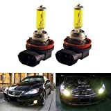 GOLDEN YELLOW 100w ONE PAIR XENON GAS FILLED H11 LOW Beam light bulbs for 07 08 09 Chevrolet Tahoe (including Hybrid)/ 09 Chevrolet Taverse/ 05 06 07 08 09 Chevrolet Uplander/ 09 Chrysler Town & Country/ 09 Dodge Ram 1500/