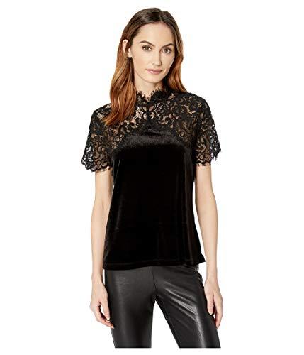 Ivanka Trump Women's Velvet Lace Yoke Top, black/001 XL ()