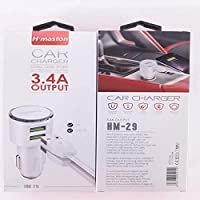 Carregador Car Charger 2 Usb Cabo V8 3.1A Hm29 Branco, H Maston, 37859117, Preto