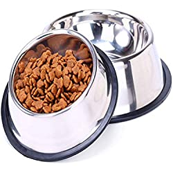 Stainless Steel Dog Bowl Sport Travel Pet Dog Cat Food Feeder Outdoor Drinking Water Fountain Pet Feeding Tool Cartoon Style White M