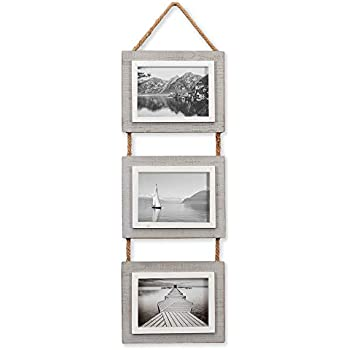 Barnyard Designs Rustic Hanging Picture Frames Set Farmhouse Country Decor Photo Frames Set on Rope - (3) 5