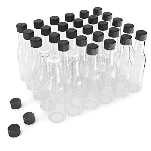 Glogex Empty Glass Hot Sauce Bottles  with Leak Proof Black