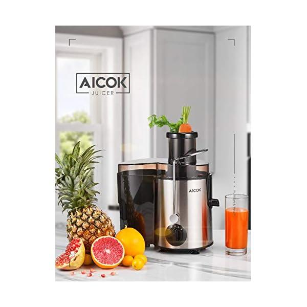 Centrifuga Frutta e Verdura Aicok Estrattore di Succo a Freddo con 65MM Bocca, Piedi Anti-scivolosi e Facile Pulizia, Centrifuga di Acciaio Inox con 3 Velocità, Funzione Anti-Intasamenti, Senza BPA - 2021 -