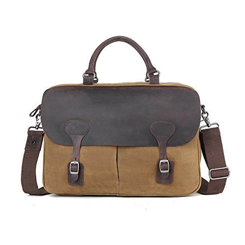 Men's Shoulder Canvas Men Business Oil Vintage Document Crossbody Wax Official Khaki Bag 6WUwrFq6