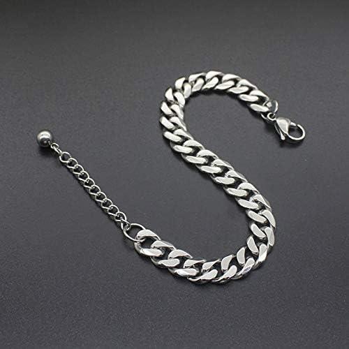 JYHW - Pulsera de acero inoxidable de plata para hombre, eslabón cubano, cadena de oro, regalo a mano para hombre, pulsera de perlas de encanto, accesorios en grogs, tono plateado, 3,5 mm de ancho