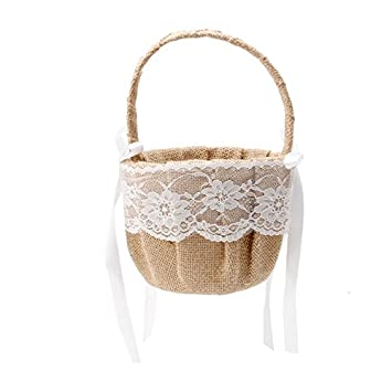 Misciu Romantic Bowknot Burlap Satin Wedding Ceremony Party Rose Flower Girl Basket (Rose Flower)