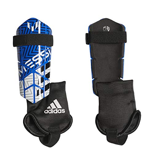 - adidas Youth Soccer Messi 10 Shin Guards (M, Football Blue/White / Black)