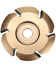 Wood Carving Disc, 6 Teeth Power Wood Carving Disc Tool Milling Cutter for 16mm Aperture Angle Grinder (Diameter 90 mm Polishing) (Gold)