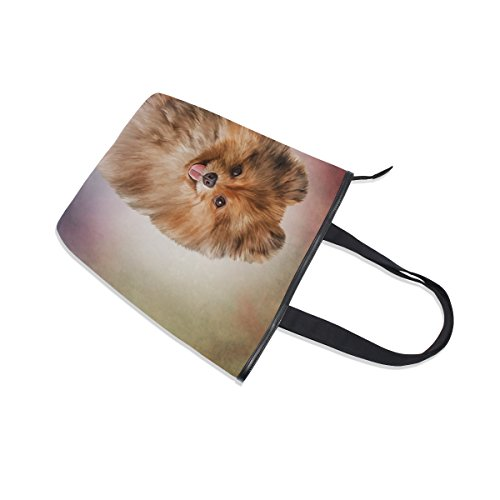 Shoulder Handbag Canvas MyDaily Pomeranian Dog Womens Bag German Tote gExwq58xv