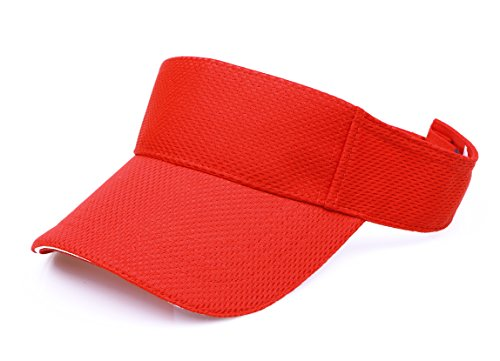 RufnTop Mesh Visor Sport Headband Athletic Sportswear Runing & Outdoor Activities for Unisex (Red One Size)